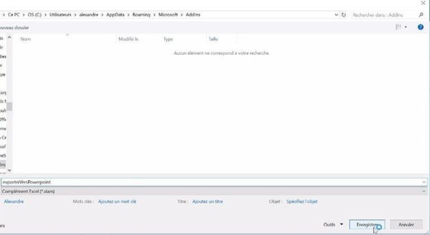 Fenêtre pour enregistrer un complément Excel
