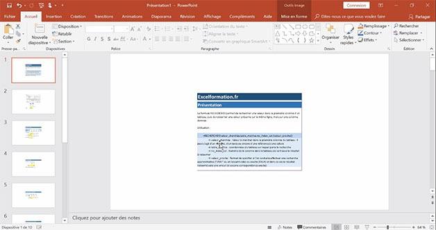 Feuilles Excel affichées dans PowerPoint