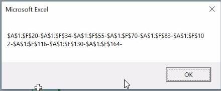 Msgbox Excel affichant les adresses des cellules