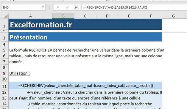 RechercheV sur Excel Formation