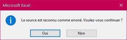 Message La source est reconnu comme erroné Excel