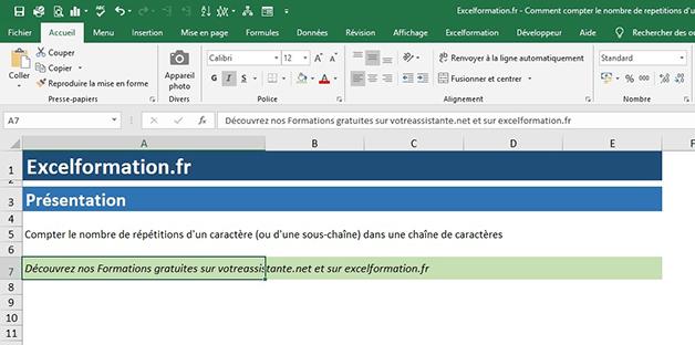 Compter le nombre de caractères d'une cellule Excel