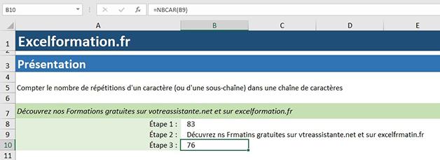 Compter le nombre de caractères Excel avec NBcar