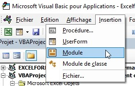 Insertion d'un module Excel VBA