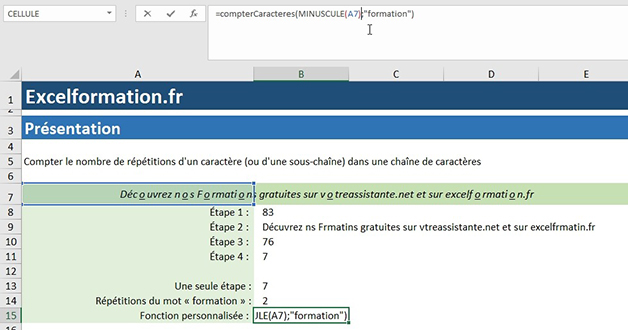 Minuscule dans une fonction personnalisée Excel VBA