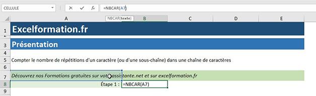 NBcar sur Excel