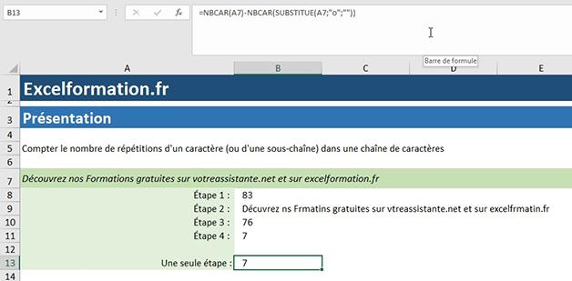 NBcar et Substitue sur Excel