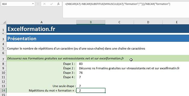 NBcar, Substitue et Minuscule pour répétition Excel