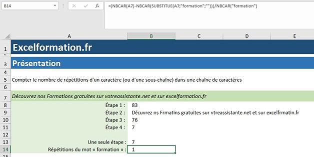 NBcar et Substitue pour répétition Excel