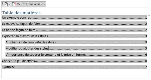 Table des matières automatique sur Word