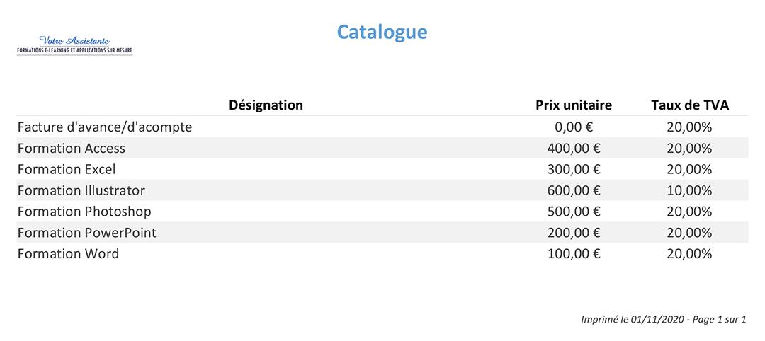 Catalogue de produits et services de l'application Gérez vos devis et factures avec Access
