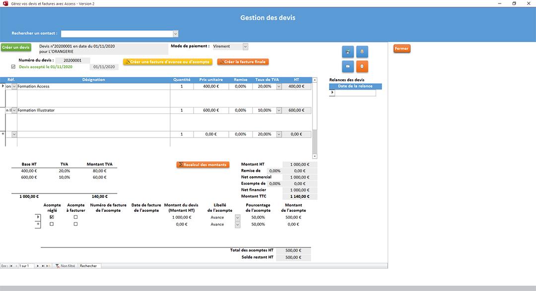 Édition des devis de l'application Gérez vos devis et factures avec Access