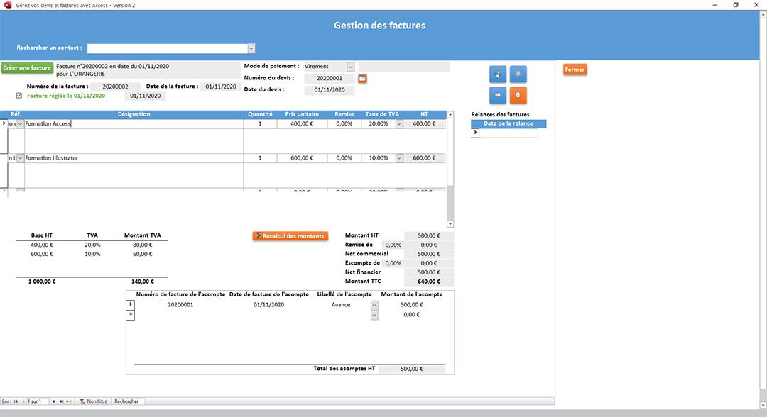 Édition des factures de l'application Gérez vos devis et factures avec Access
