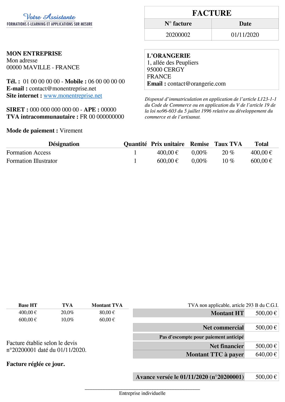 Facture imprimable de l'application Gérez vos devis et factures avec Access