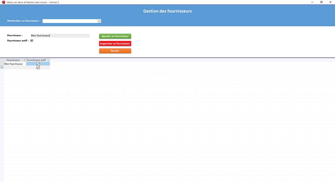 Fournisseurs de l'application Gérez vos devis et factures avec Access