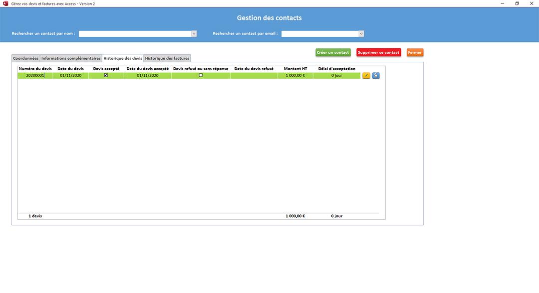 Historique des devis de l'application Gérez vos devis et factures avec Access