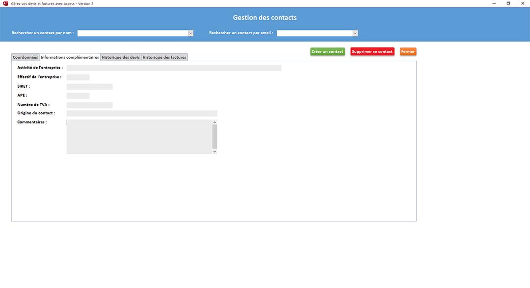 Informations complémentaires clients de l'application Gérez vos devis et factures avec Access