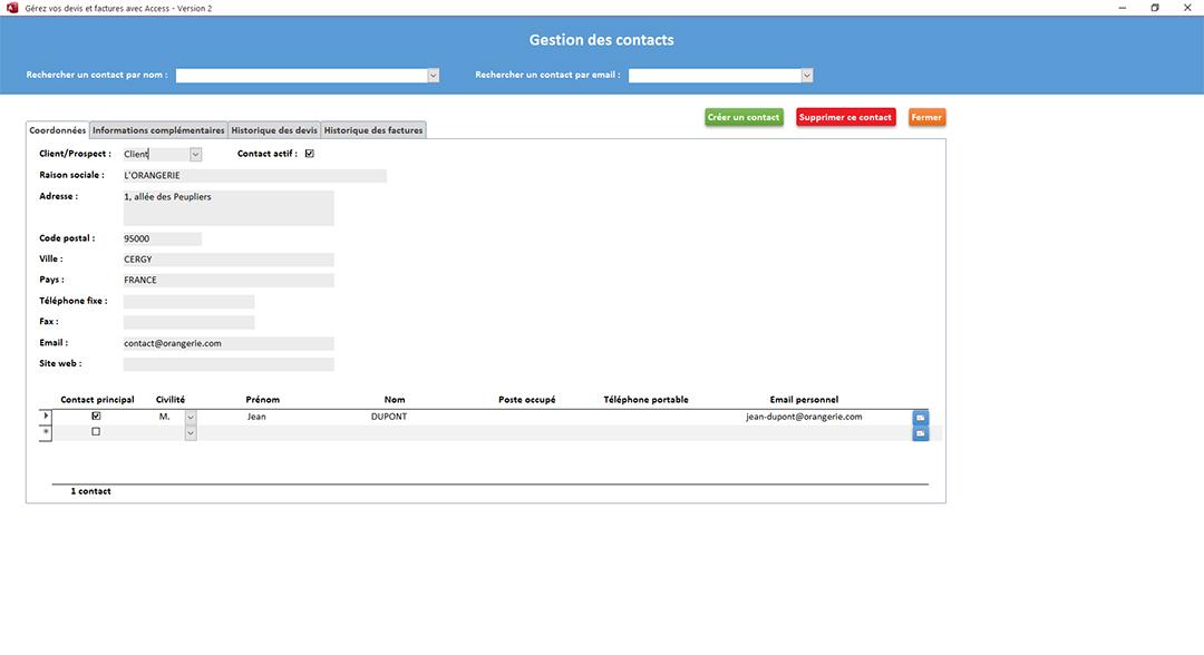 Informations principales clients de l'application Gérez vos devis et factures avec Access