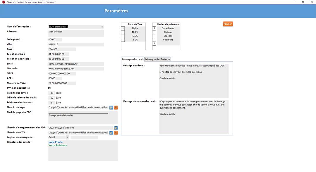 Paramètres de l'application Gérez vos devis et factures avec Access