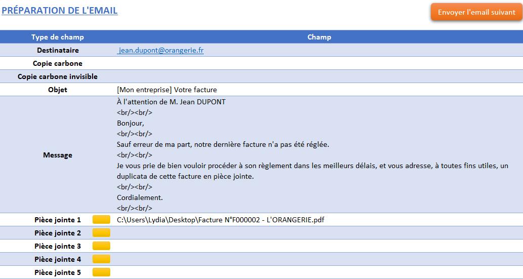 Email prérempli de relance d'une facture de l'application Gérez vos devis et factures avec Excel et Gérez vos devis, factures et stocks avec Excel