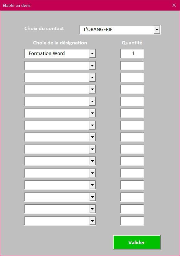 Formulaire de saisie des devis de l'application Gérez vos devis et factures avec Excel