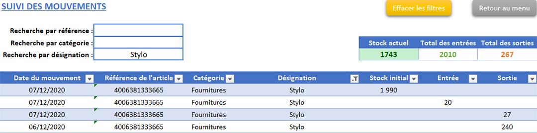 Suivi des mouvements de stocks de l'application Gérez vos devis, factures et stocks avec Excel